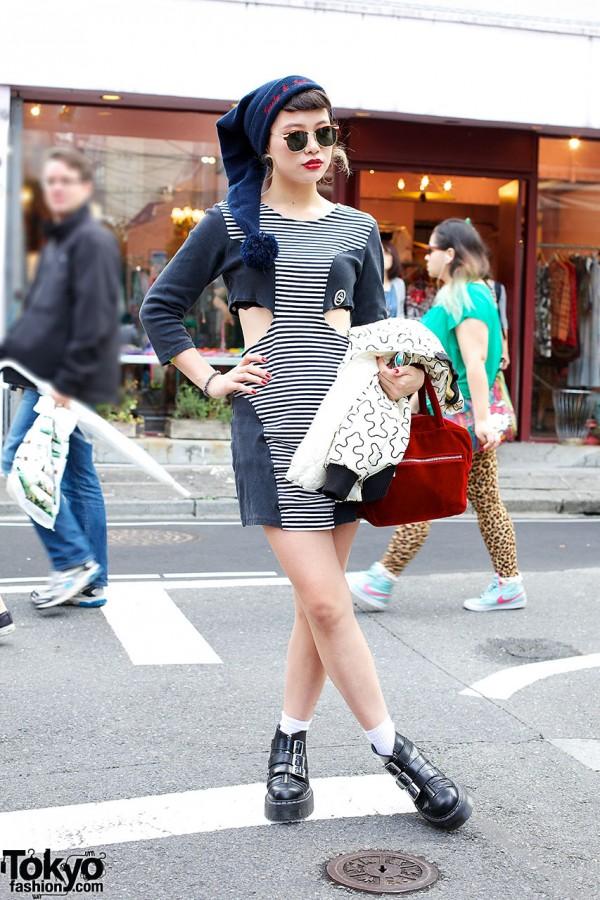 Mikki's Cutout Dress & Agyness Deyn x Dr. Martens Boots in Harajuku