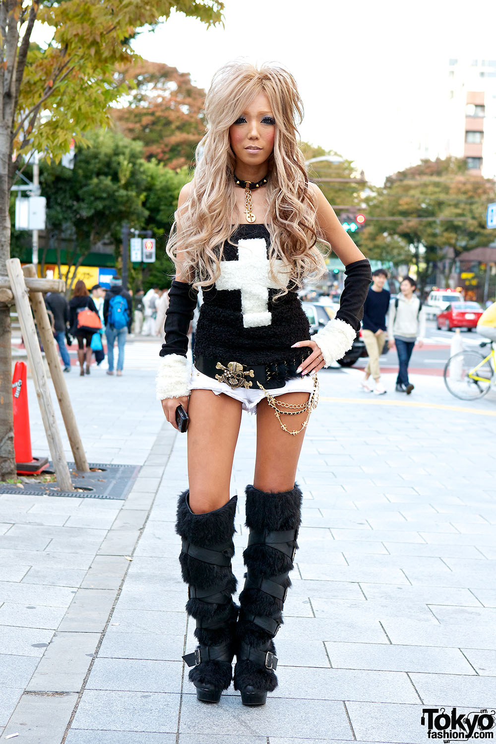Black Diamond Gyaru Yui W Cross Top Amp Knee High Furry