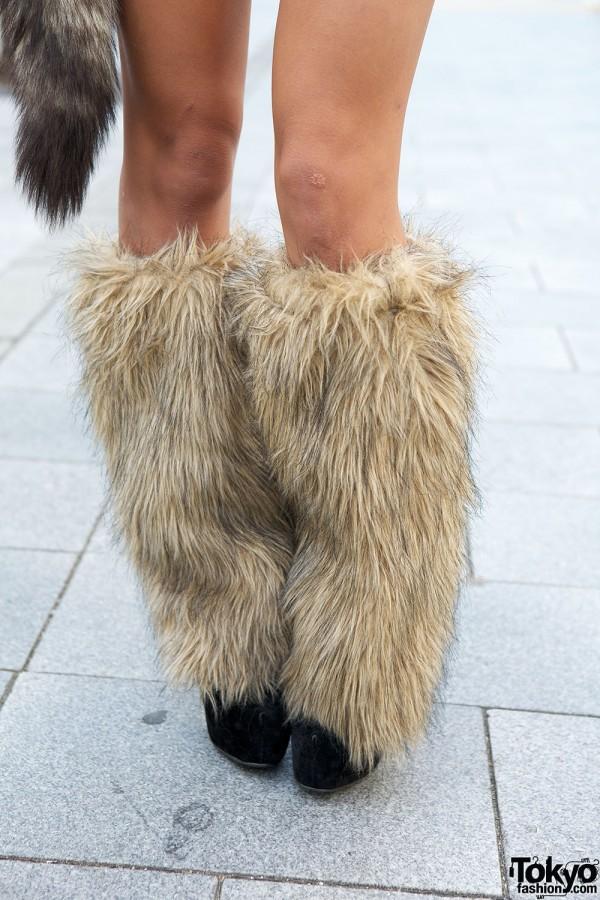 Gyaru Furry Leg Warmers