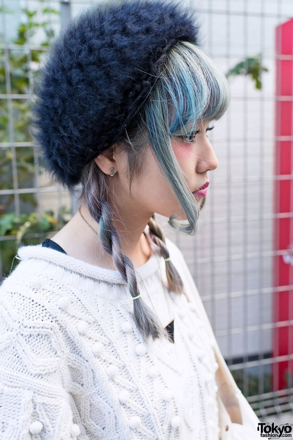 Blue-Streaked Hair & Fuzzy Beret