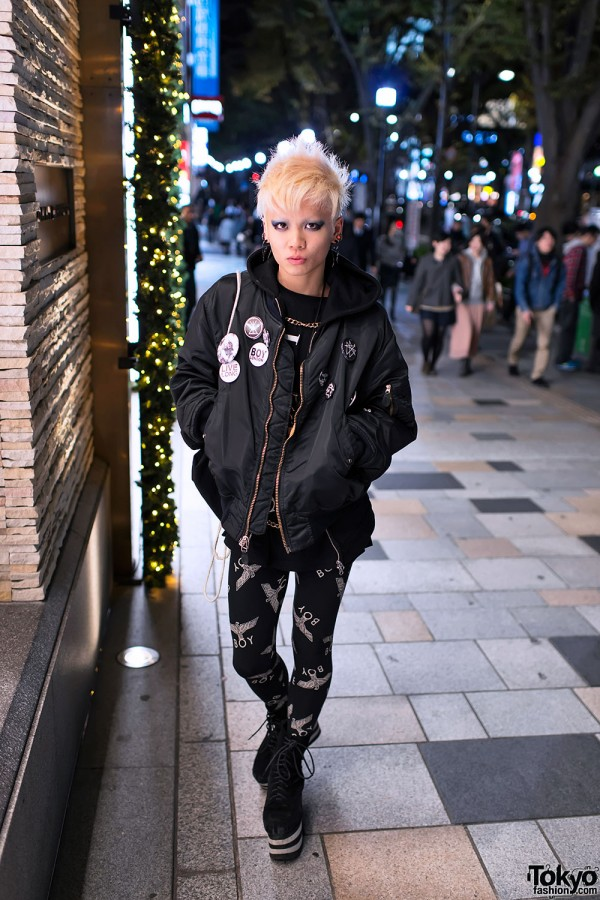 Black Bomber Jacket in Harajuku
