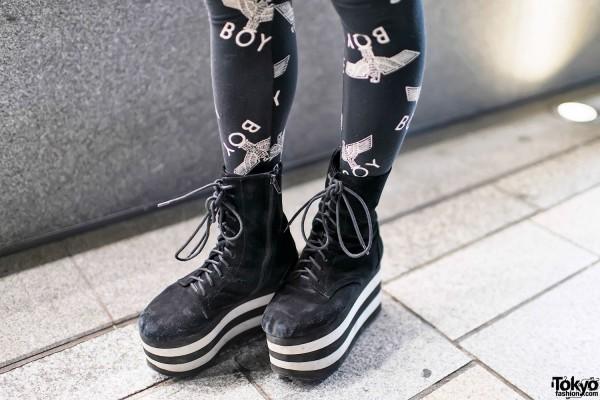 Platform Boots & Boy London Leggings
