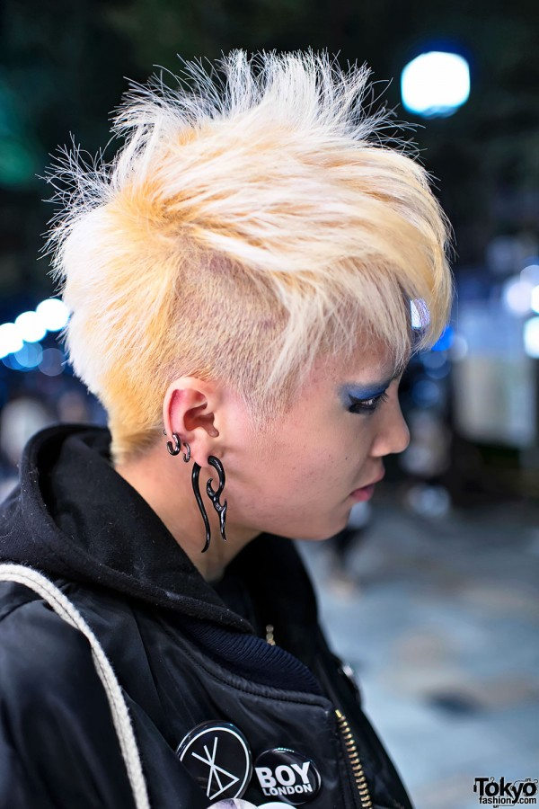 Shaved Blonde Japanese Hairstyle