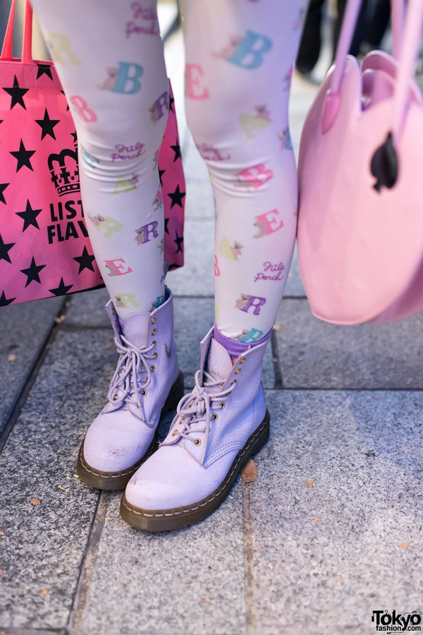 Lavender Boots & Nile Perch Tights in Harajuku