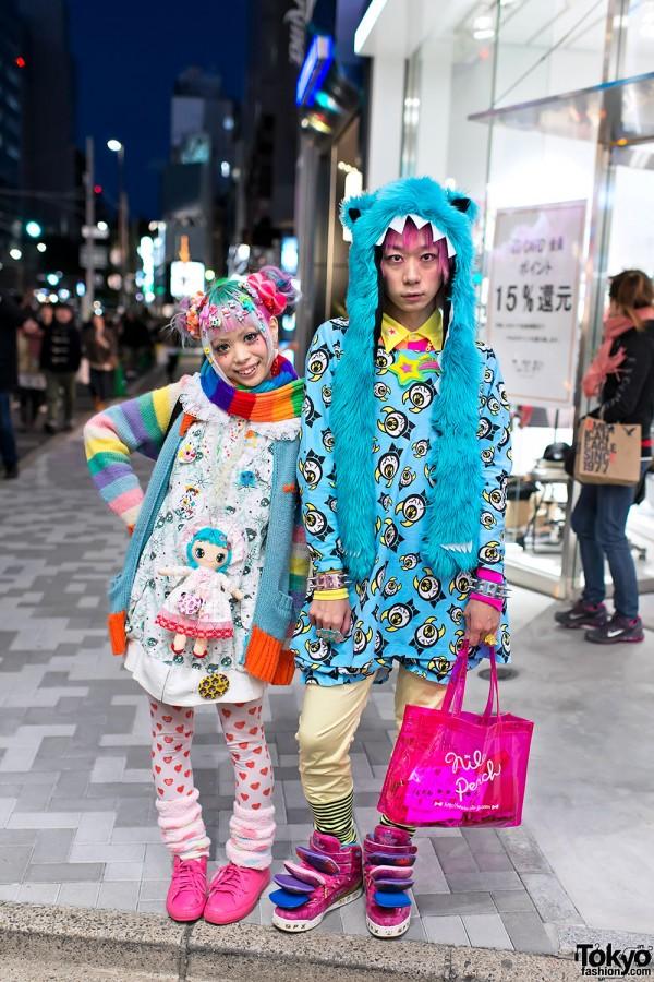 Kurebayashi & Junnyan in Harajuku w/ Kawaii Monsters & Colorful Hair