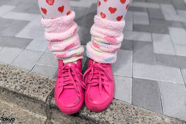Heart Tights & Pink Sneakers