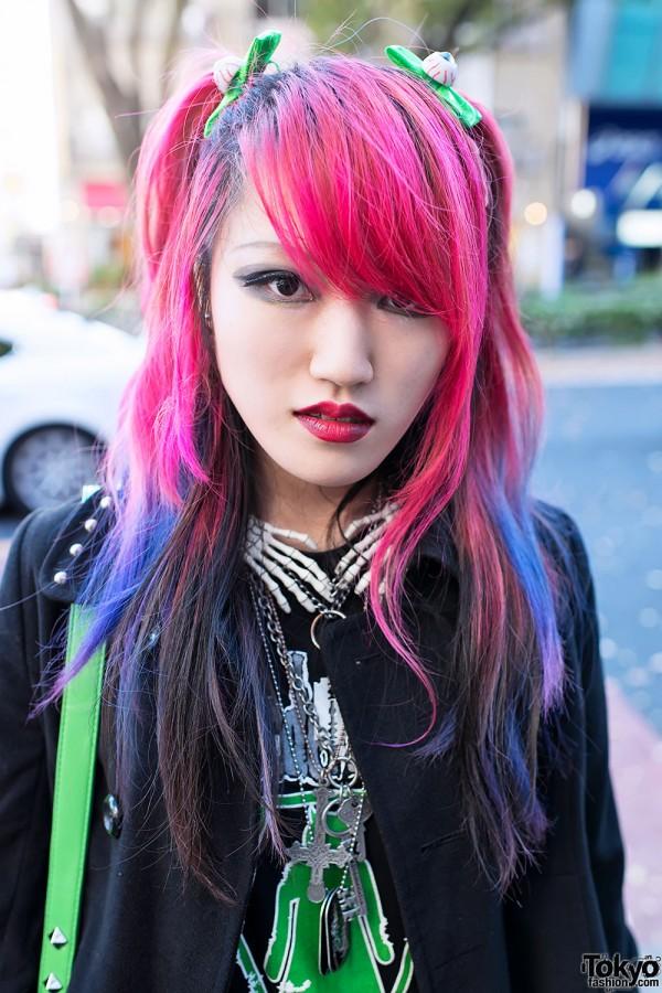 Pink purple dip dye hair in Harajuku