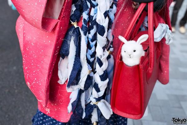 Red Purse & Cute Rabbit in Harajuku