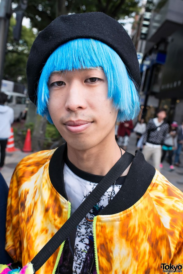 Shunpei With Blue Hair in Harajuku