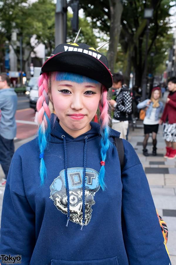 Pink & Blue Braids in Harajuku
