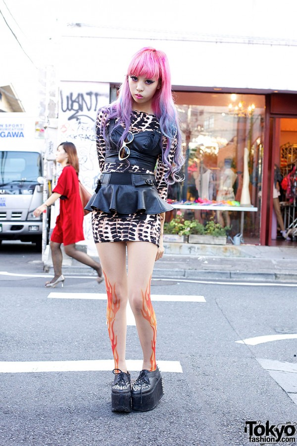 Juria w/ Flame Tights, Pink-Purple Hair & Spiked Platforms in Harajuku