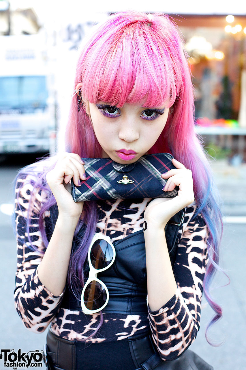Juria W Flame Tights Pink Purple Hair Amp Spiked Platforms