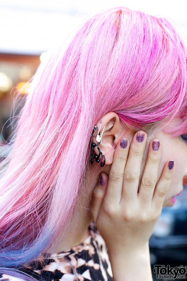 Safety Pin Earring & Pink Hair