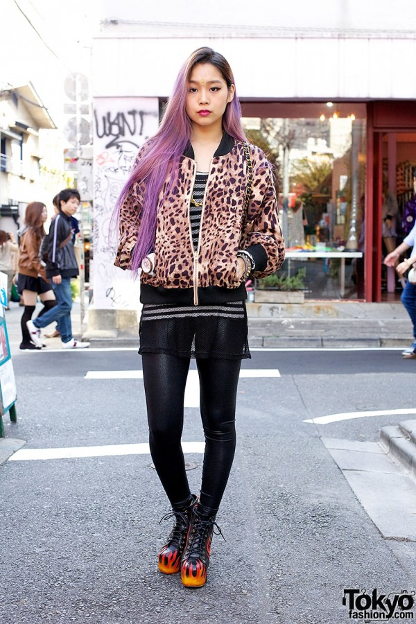 Ombre Purple Hair w/ Flame Shoes, Joyrich Animal Print & Chanel