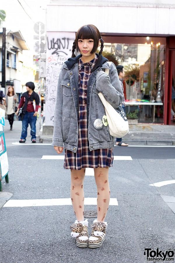 Heather Denim Jacket w/ Jouetie Tights & Cat Accessories in Harajuku