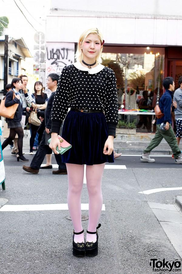 Harajuku Polka Dots w/ Velvet Skirt & Love Drug Store Cat Shoes