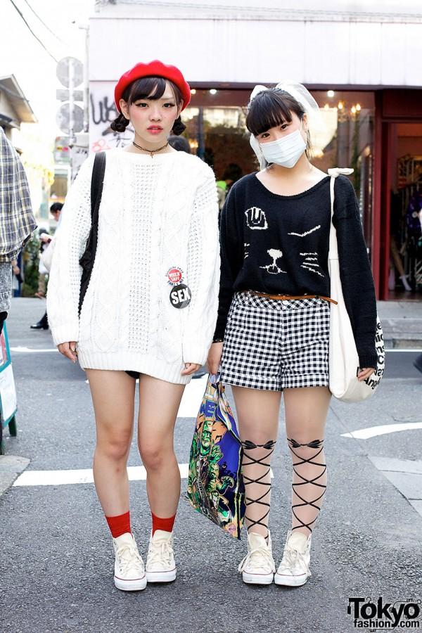Harajuku Girls w/ Matching Converse, Red Beret, Cat-Print & Cable Knit