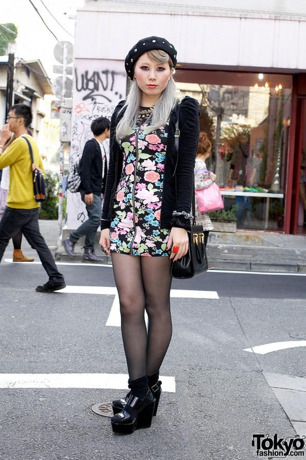 H&M Floral Mini Dress, Studded Beret & F21 Accessories in Harajuku