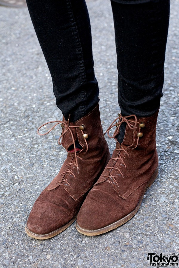 Brown Suede Boots in Harajuku