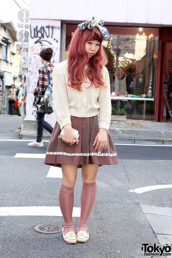 Cult Party Dress w/ Hair Bow, Cardigan & Knee Socks in Harajuku