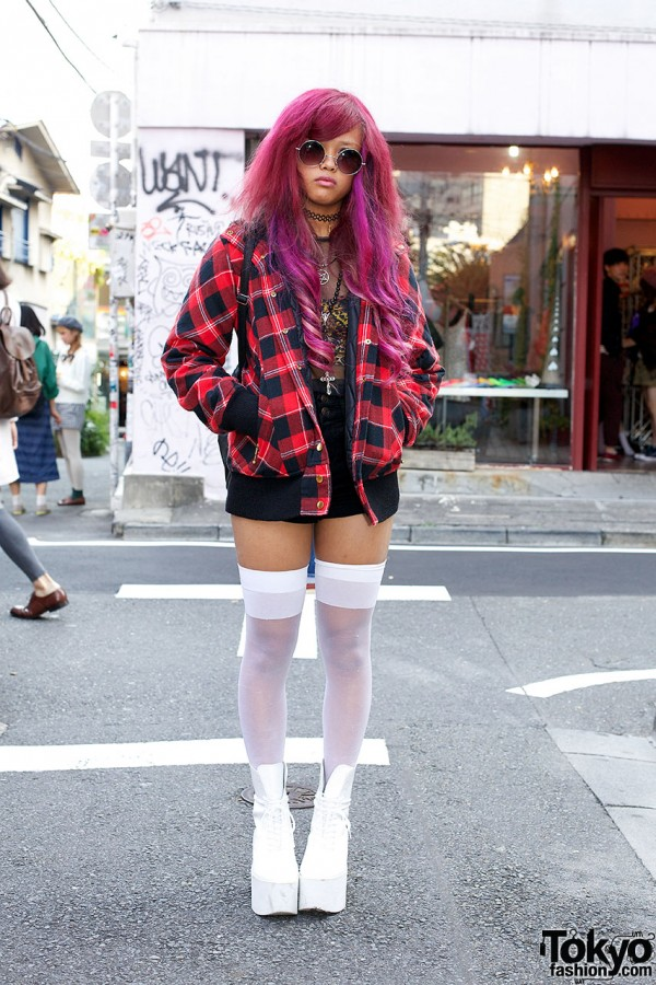Pink purple hair in Harajuku