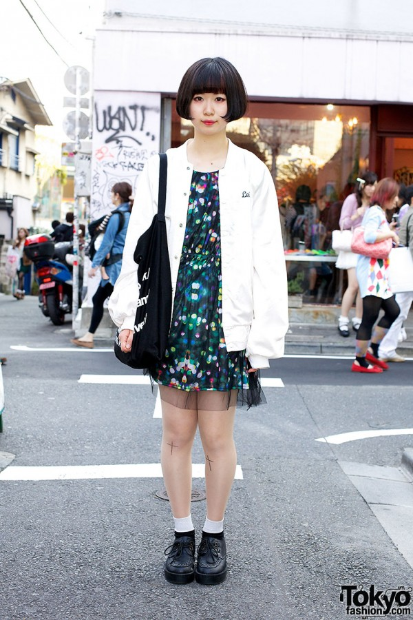 Cute Bob Hairstyle, H&M Dress, Creepers & American Apparel Tote