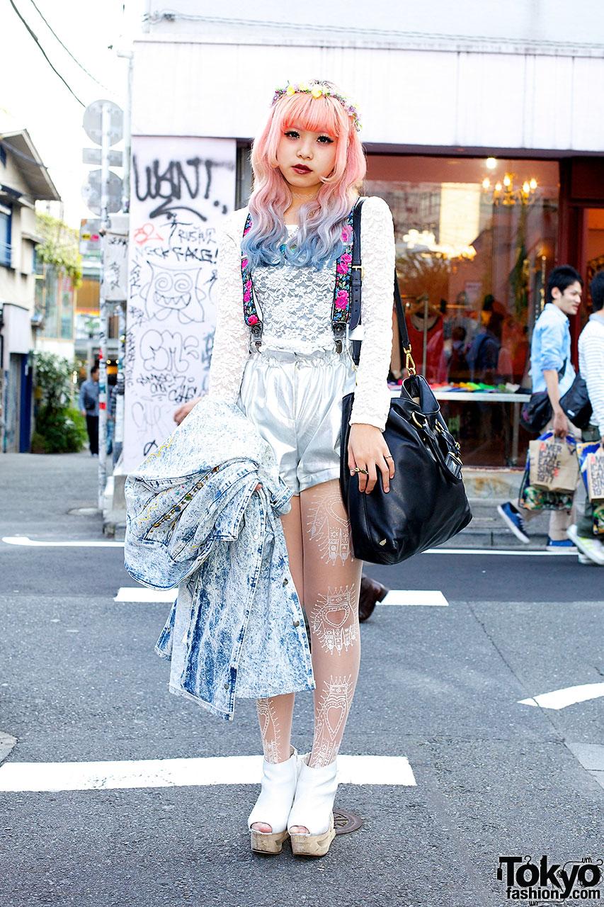 Dip Dye Hair & Silver Shorts in Harajuku