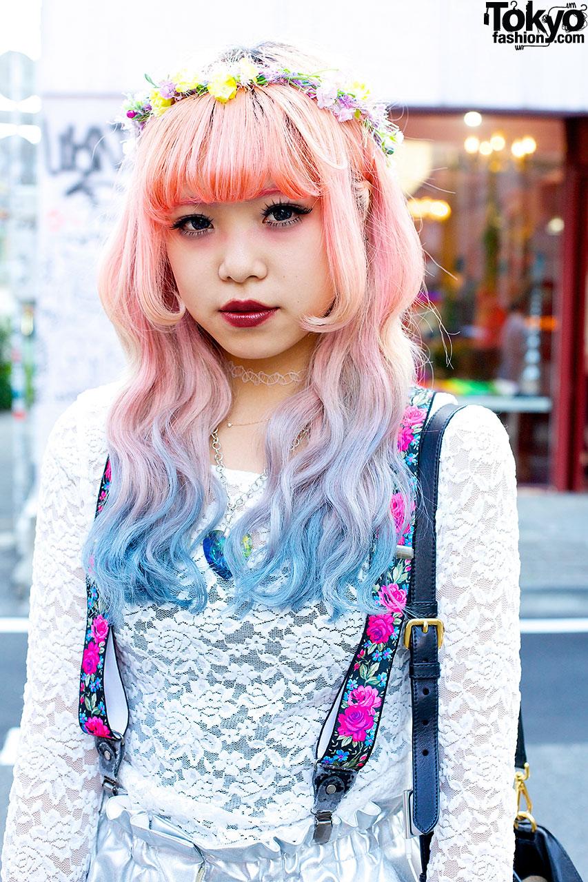 Pink Blue Dip Dye Hair Silver Shorts Jeffrey Campbell In Harajuku