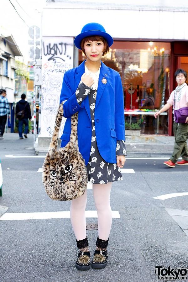 Candy Stripper Cat Dress, Blue Blazer & Furry Cat Bag in Harajuku