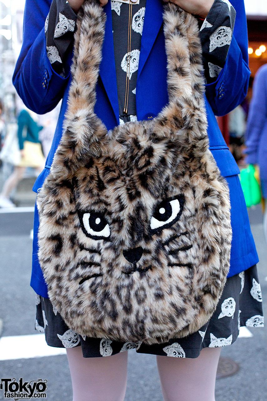 Candy Stripper Cat Dress Blue Blazer Amp Furry Cat Bag In
