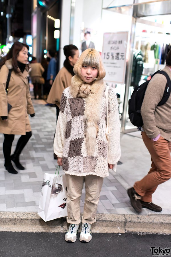 Patchwork Cable Knit Sweater in Harajuku