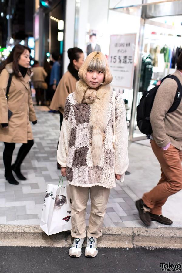 """Thom Yorke Dance Guide"" Bag & Patchwork Sweater in Harajuku"