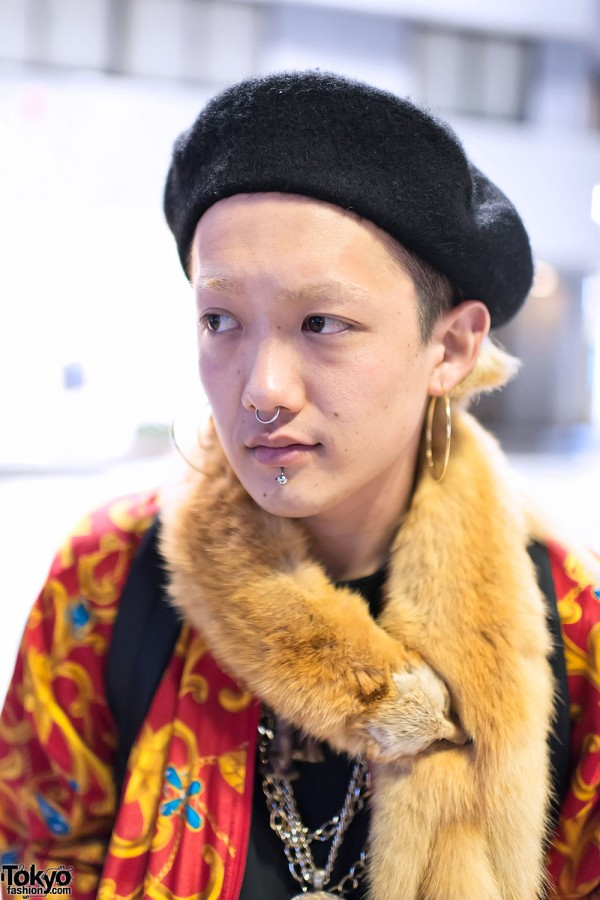 Beret & Piercings in Harajuku