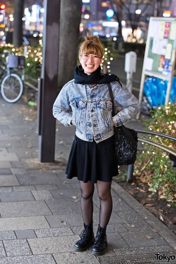 Acid Wash Levi's Jacket, Knit Skirt & Dr. Martens Boots in Harajuku
