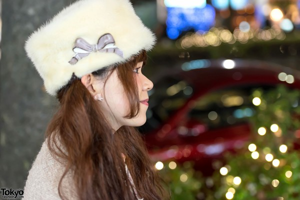 Furry Bow Hat in Harajuku