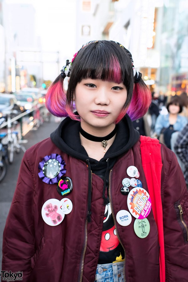 Cute Hairstyle & Bomber Jacket