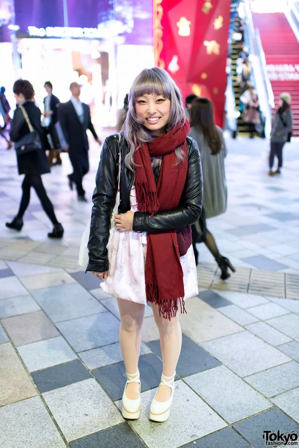 Lilac Hair, Leather Jacket & Grimoire iPhone Case in Harajuku