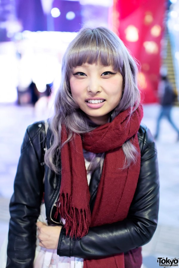 Lilac Hair & Scarf in Harajuku