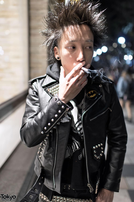Leather jacket punk - Harajuku Punk In Studded Leather Jacket Boots
