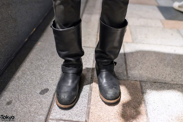 Punk Leather Boots in Harajuku
