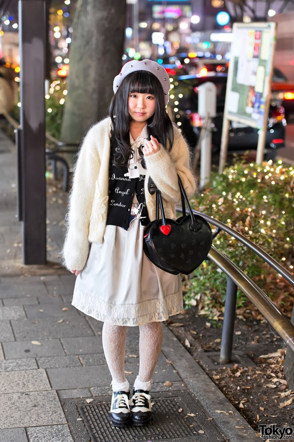 Fuzzy Sweater & Lace Dress in Harajuku