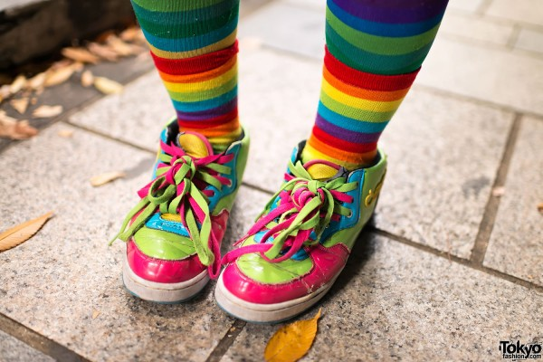 Striped Tights & Colorful Harajuku Sneakers