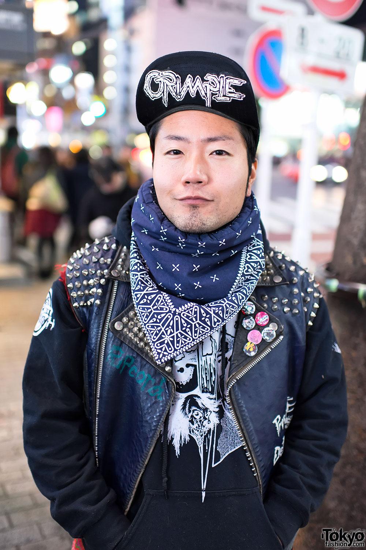 Old School Punk w/ Grimple Cap & DIY Studded Vest in Shibuya
