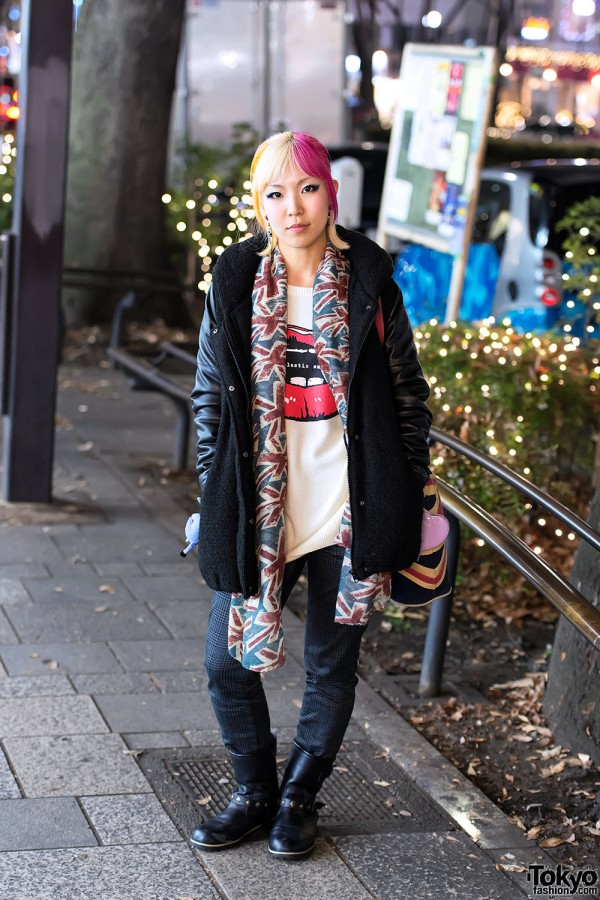 Pink-Blonde Hair, Rose Earring & Studded Boots in Harajuku