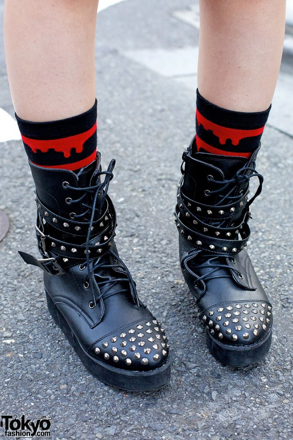 studded lace up boots