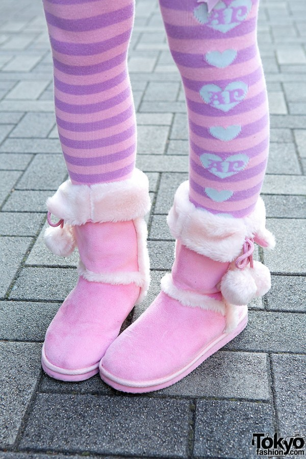 Striped Socks Pink Boots