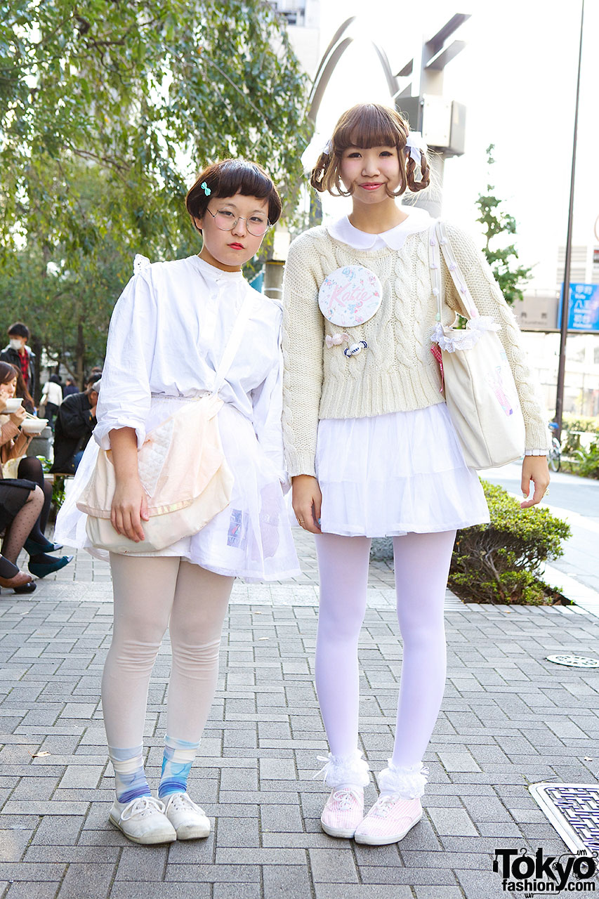 Tokyo Fashion Students In White W Kawaii Pastel Accents
