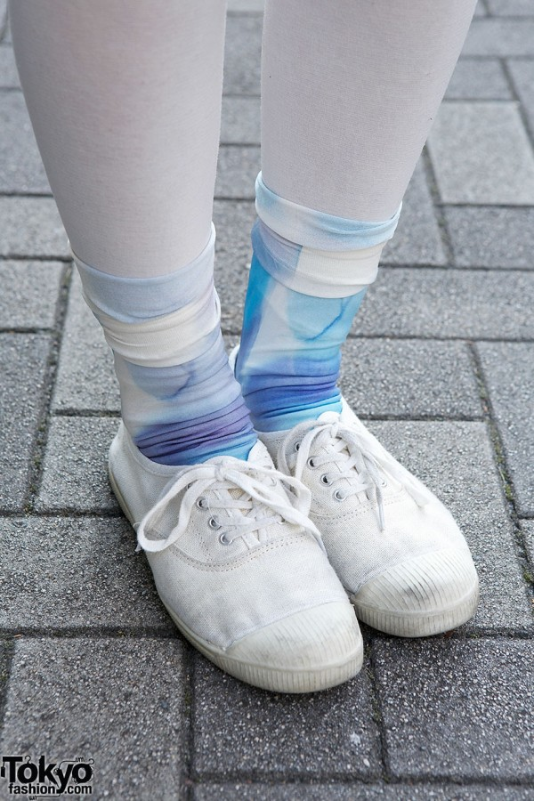 White Sneakers & Blue Socks