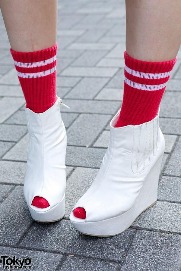 Red Socks White Booties