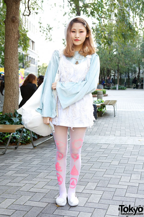 Remake Outfit w/ Neon Graphic Tights & Oversized Bag in Tokyo